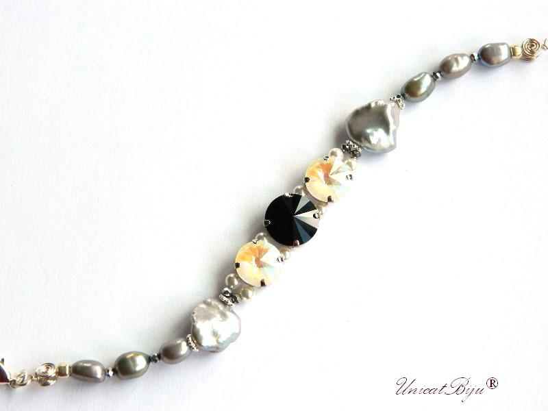 bratara statement, cristale swarovski, perle, sidef natural, multicolor, bijuterii unicat, jet, opalit, unicatbiju