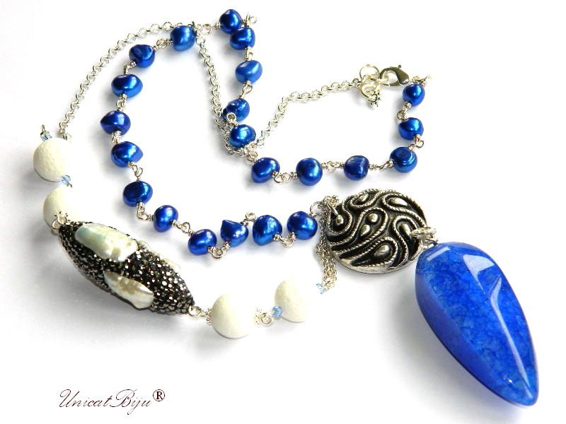colier lung, bijuterii semipretioase unicat, perle, sidef natural, cobalt, pandantiv agat albastru, perle keshi, argintat, unicatbiju