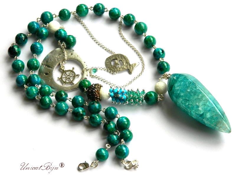colier lung, blue casillica, bijuterii semipretioase unicat, agat masiv, turcoaz, lava alb, ancora argintata, unicatbiju