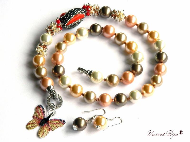 colier perle mallorca, fluture filigran, coral, cristale, bijuterii semipretioase unicat, statement, perle swarovski, unicatbiju