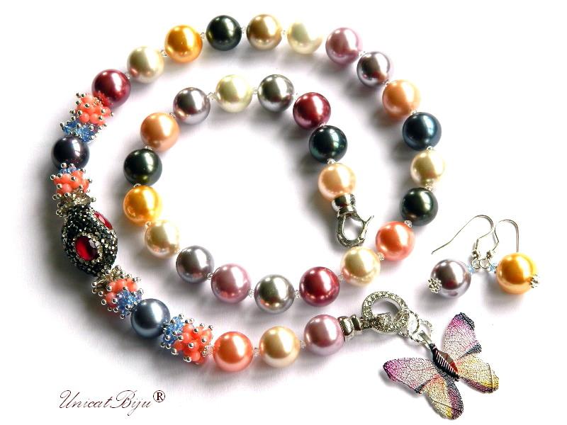 colier perle mallorca, fluture filigran, granat, coral orange, cristale, bijuterii semipretioase unicat, statement, perle swarovski, unicatbiju