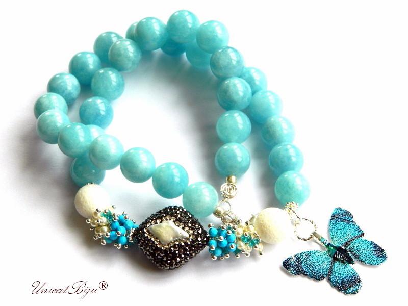 colier statement, fluture filigran argintat, bijuterii semipretioase unicat, lava alb, perle, turcoaz, sidef natural, unicatbjiu