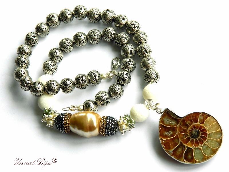 colier statement, lava argintat, pandantiv amonit, perle mallorca, cristale, bijuterii semipretioase unicat, perle cultura, unicatbiju