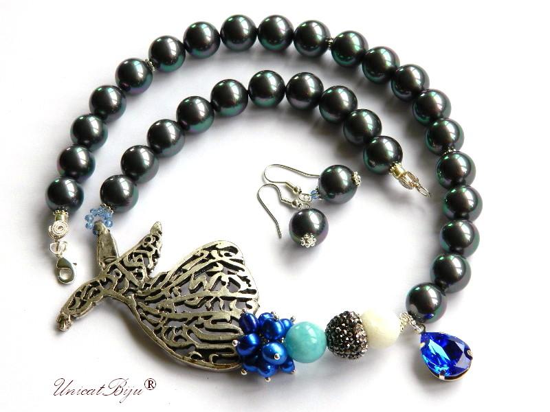 colier statement, perle mallorca curcubeu, pandantiv swarovski, majestic blue, perle, sidef natural, albastru cobalt, dervish argintat, unicatbiju