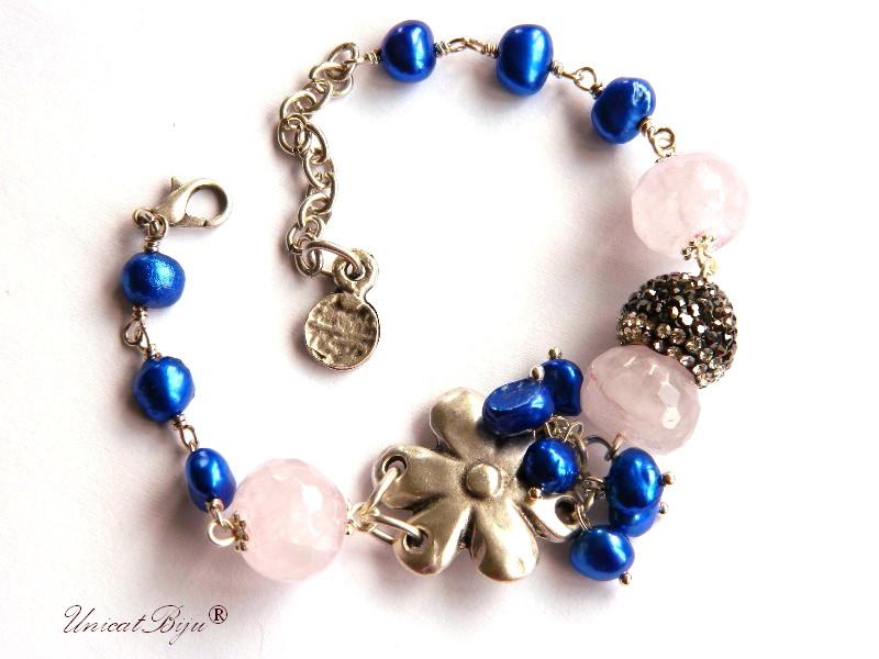 bratara cuart roz, bijuterii semipretioase unicat, perle albastre, sidef natural, cristale, floare argintata, boho style, vara, unicatbiju
