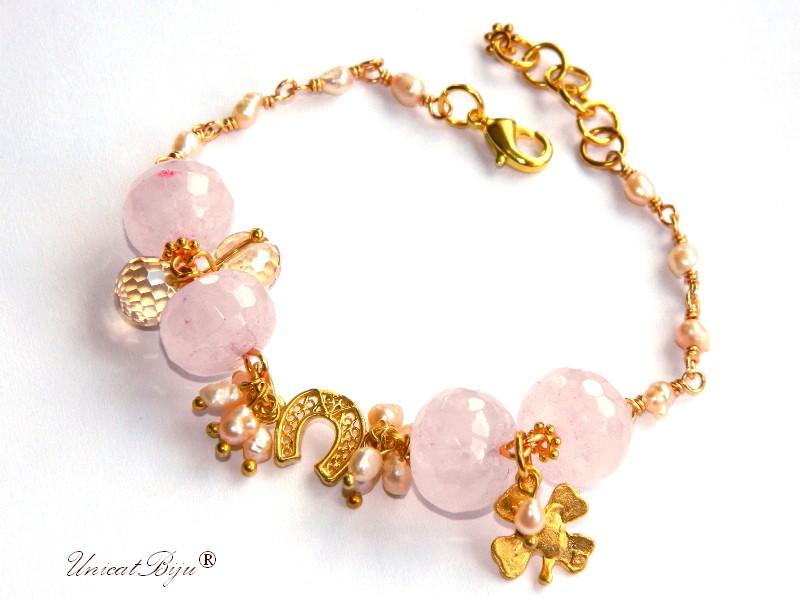 bratara cuart roz, perle sidef natural, bijuterii semipretioase unicat, trifoi aurit, cristale bohemia, potcoava aurita, unicatbiju