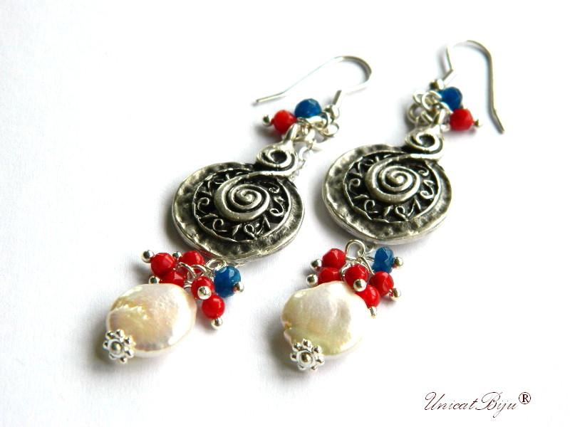 cercei lungi, bijuterii semipretioase unicat, perle keshi, coral, safir radacina, argintat, unicatbiju