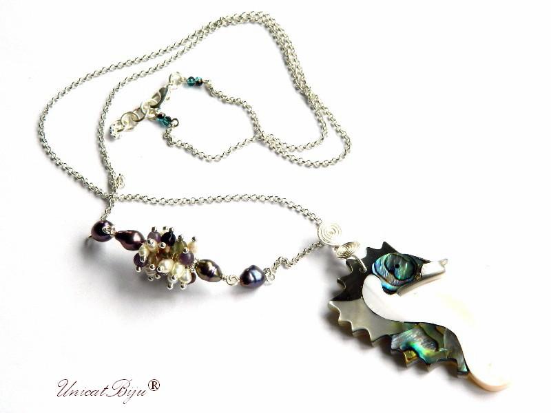 colier calut de mare, paua shell, sidef natural, perle, bijuterii semipretioase unicat, flourite, unicatbiju