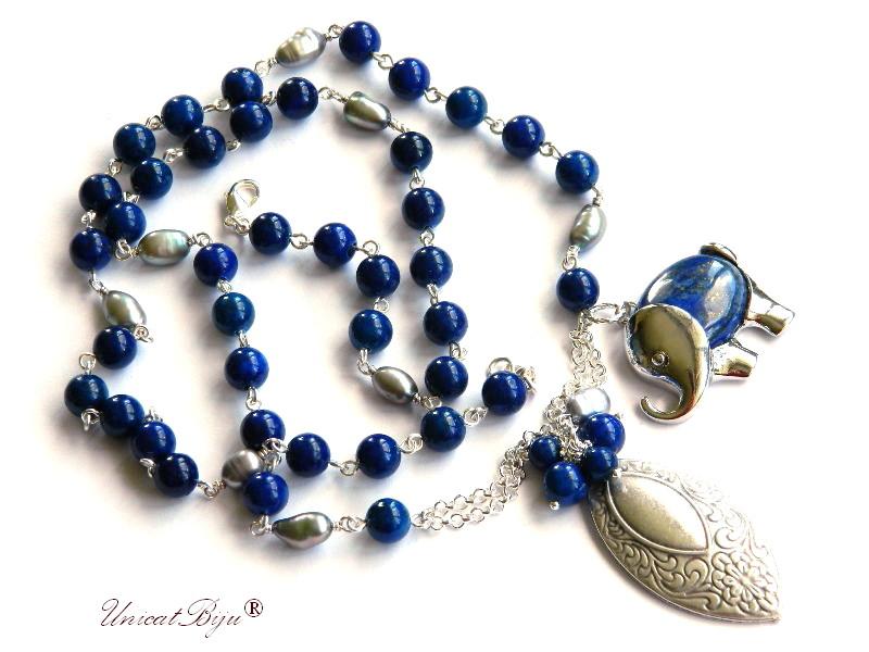 colier extra lung, lapis lazuli, elefantel feng shui, bijuterii semipretioase unicat, perle gri, sidef natural, unicatbiju, salba argintata