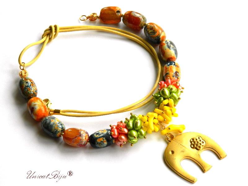 colier jasp multicolor, elefant feng shui aurit, bijuterii semipretioase unicat, coral galben, perle sidef natural, unicatbiju