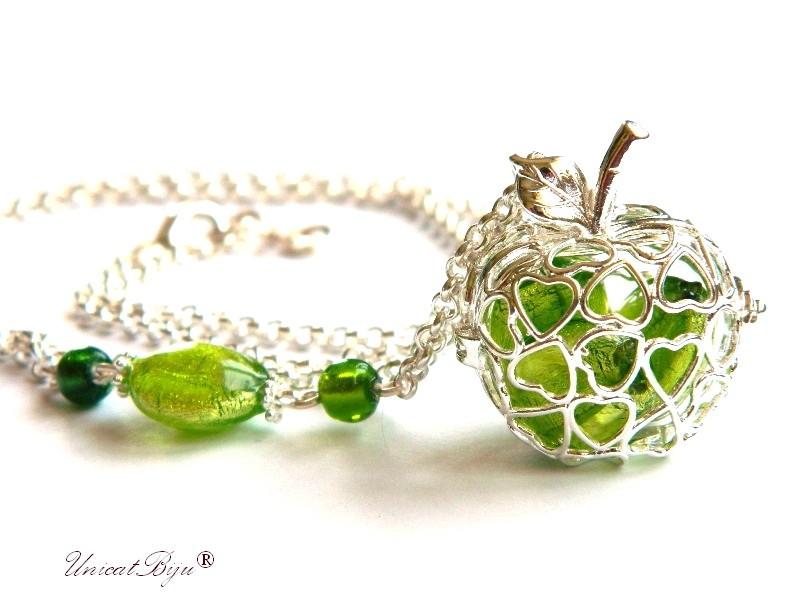 colier lant vara, mar argintat, perle murano foita argint, verde, unicatbiju