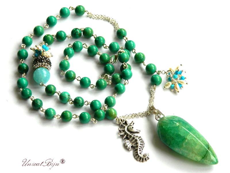 colier lung, jasp verde, agat smarald, bijuterii semipretioase unicat, perle, sidef natural, turcoaz, angelit, statement, unicatbiju