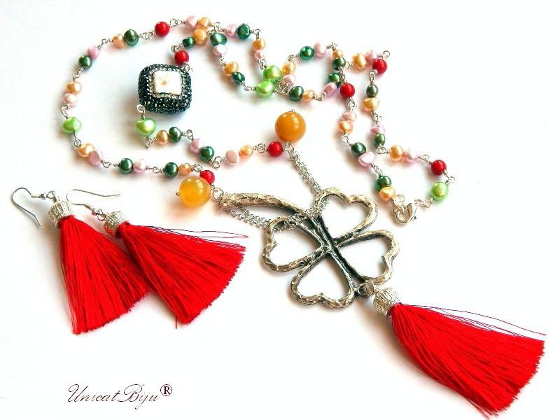 colier perle multicolore, bijuterii semipretioase unicat, cercei ciucuri matase, perle keshi, sidef natural, mallorca, jad galben, unicatbiju