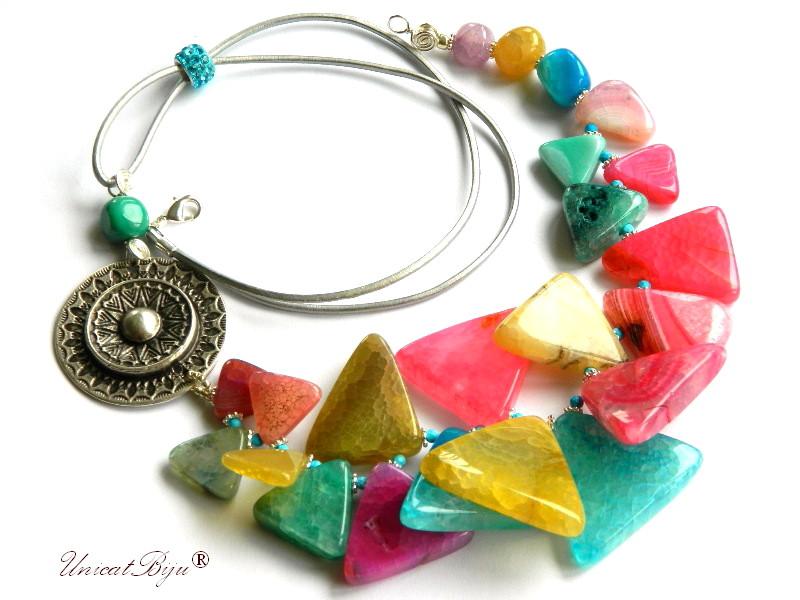 colier statement, agat masiv, multicolor, bijuterii semipretioase unicat, turcoaz, salba argintata, unicatbiju
