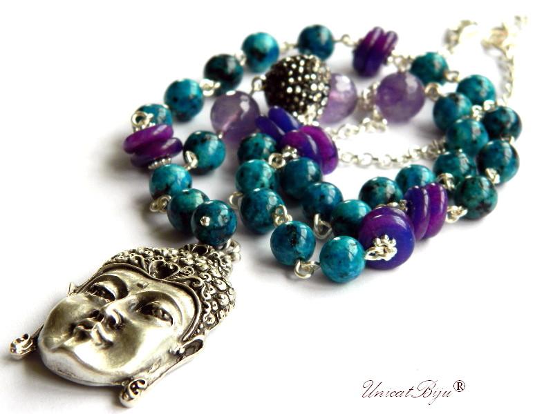 colier statement, buddha argintat, bijuterii semipretioase unicat, ametist, blue casillica, jad mov, cristale, unicatbiju