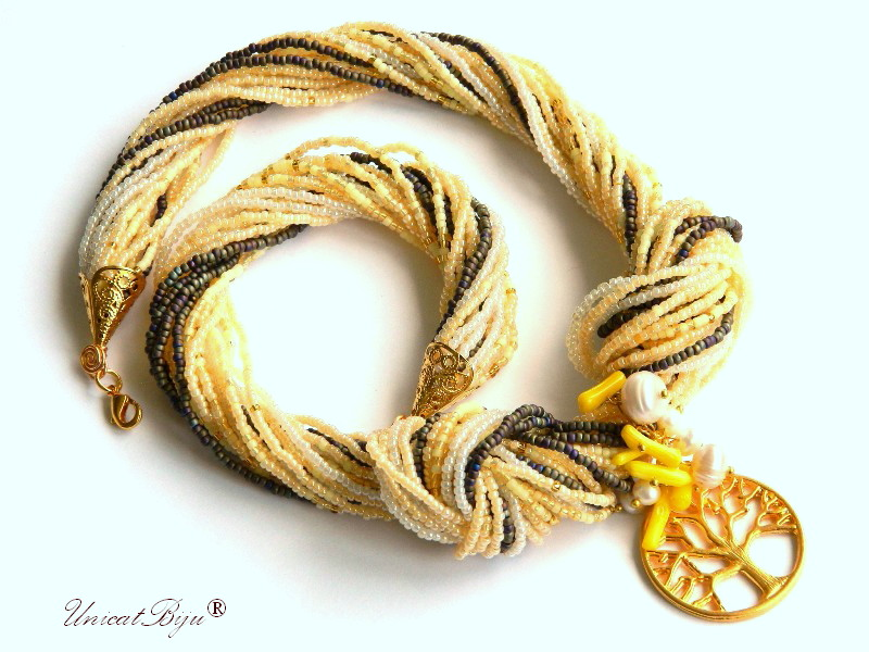 colier statement, copacul vietii aurit, perle, sidef natural, coral galben, bijuterii semipretioase unicat, unicatbiju