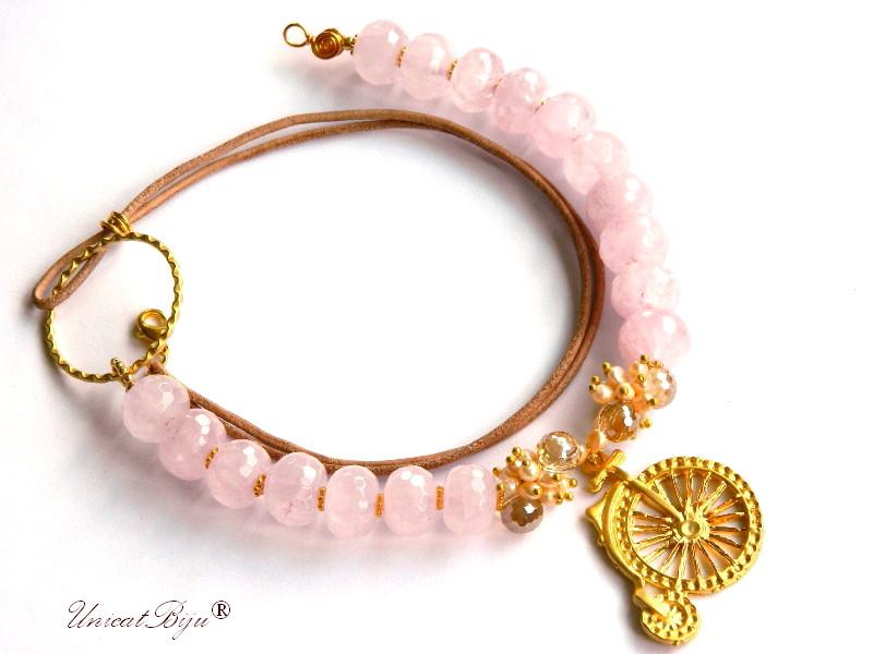 colier statement, cuart roz masiv, bijuterii semipretioase unicat, perle sidef natural, cristale aurite, unicatbiju