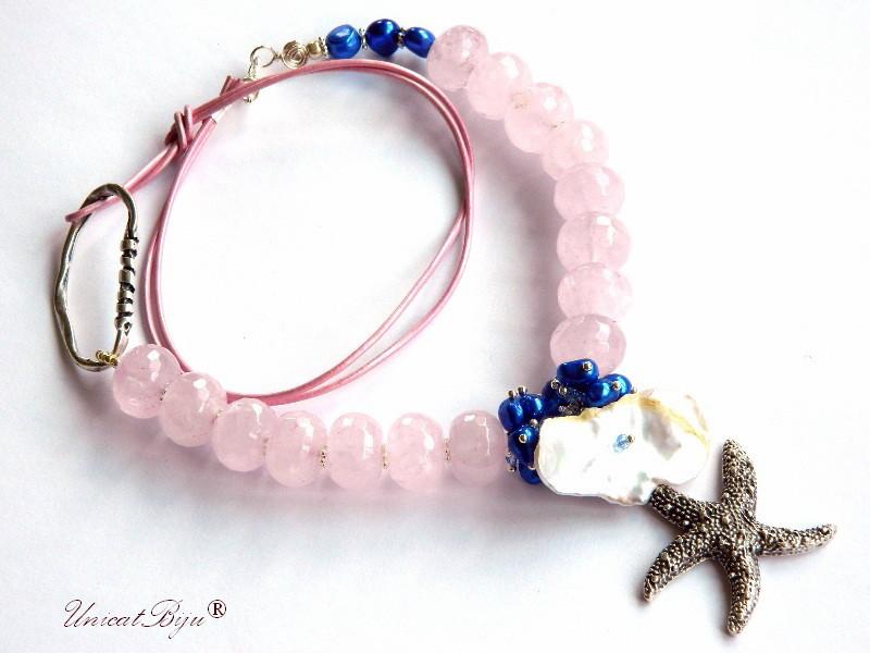 colier statement, cuart roz masiv, stea de mare argintata, bijuterii semipretioase unicat, perle albastre, sidef natural, unicatbiju