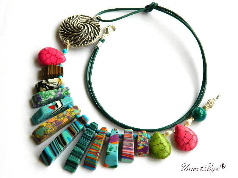 colier statement, vara, bijuterii semipretioase unicat, magnezit multicolor, agat, salba argintata, fuchsia, verde, unicatbiju