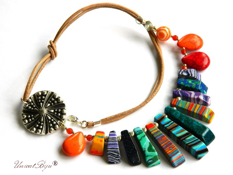 colier statement, vara, bijuterii semipretioase unicat, magnezit multicolor, agat, salba argintata, orange, rosu, unicatbiju