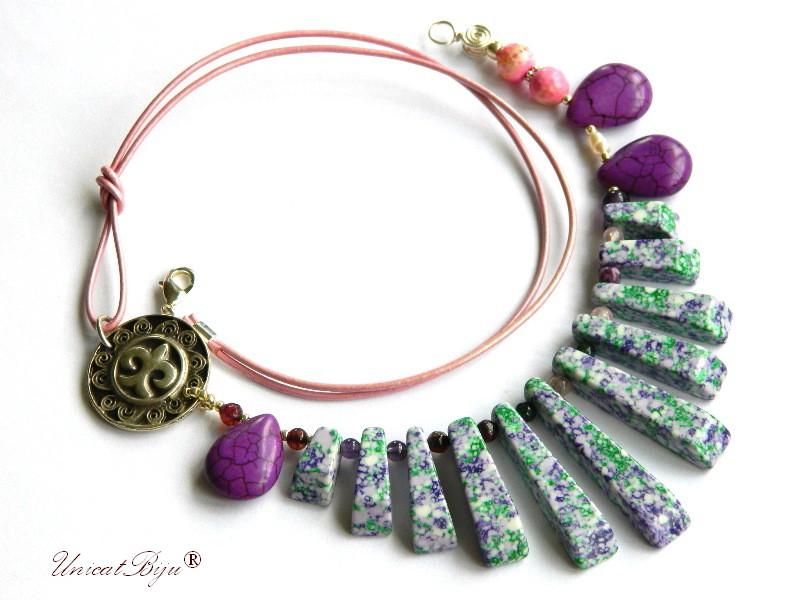 colier statement, vara, bijuterii semipretioase unicat, magnezit multicolor, agat, salba argintata, verde, mov, unicatbiju