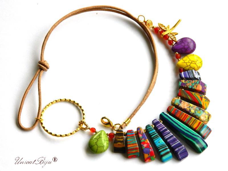 colier statement, vara, bijuterii semipretioase unicat, magnezit multicolor, agat, salba aurita, libelula, orange, mov, unicatbiju