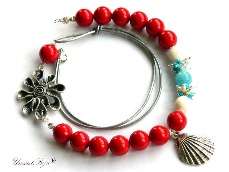 colier statement, vara, bijuterii semipretioase unicat, perle mallorca mari, turcoaz, rosu, scoica argintata, unicatbiju, angelit