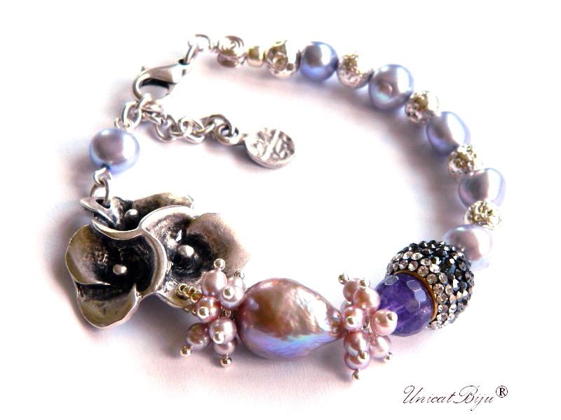 bratara statement, perla keshi, baroque, ametist, sidef natural, lava argintat, bijuterii semipretioase unicat, cristale, unicatbiju