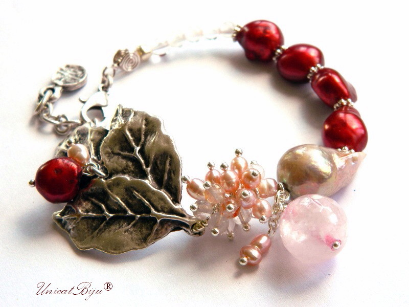 bratara statement, perle keshi, bordeaux, cuart roz, cuart cherry, sidef natural, bijuterii semipretioase unicat, argintat masiv, unicatbiju