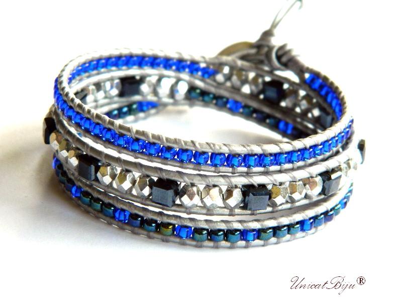 bratara wrap piele naturala, toho, margele foita argint, cristale cehia, boho style, albastru cobalt, argintat, unicatbiju