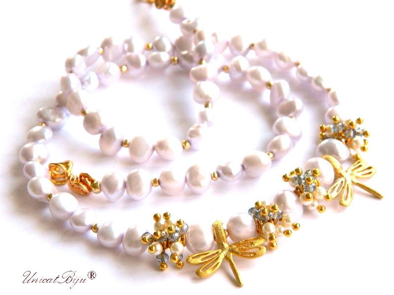 colier perle, sidef natural, bijuterii semipretioase unicat, cristale libelula aurita, perle swarovski, perle lavanda, unicatbiju