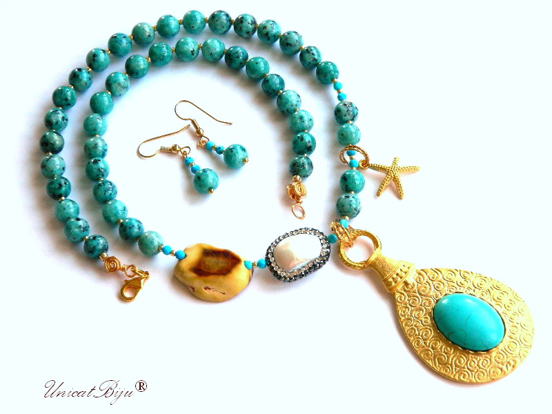 colier statement, vara, bijuterii semipretioase unicat, turcoaz, perla keshi, stea de mare aurita, jasp larimar, unicatbiju