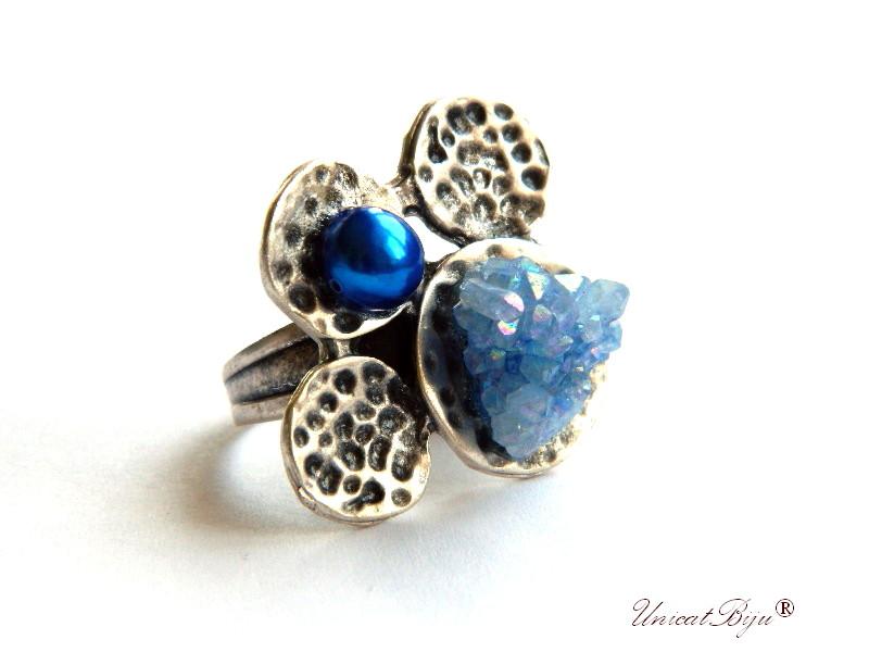inel cristale swarovski, inel perle, keshi, coral galben, bijuterii semipretioase unicat, perle albastre, inel argintat masiv, unicatbiju