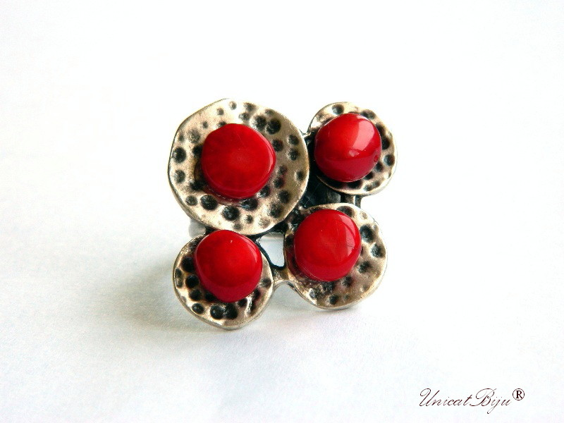 inel statement, coral rosu, bijuterii semipretioase unicat, inel arginat masiv, unicatbiju