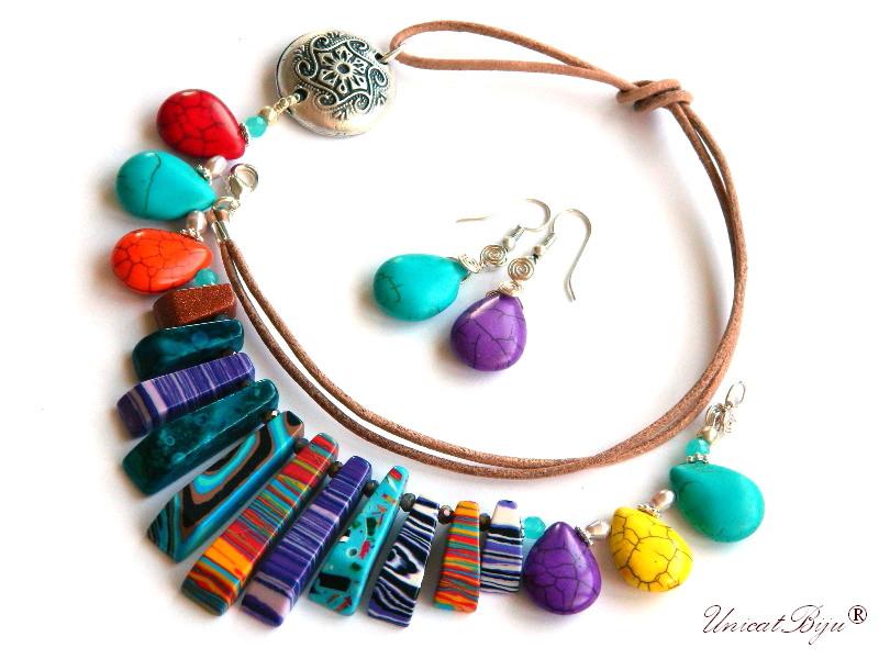 colier magnezit multicolor, bijuterii semipretioase unicat, turcoaz sinteza, perle, sidef natural, galben, salba argintata, unicatbiju