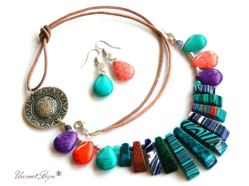 colier magnezit multicolor, bijuterii semipretioase unicat, turcoaz sinteza, perle, sidef natural, mov, salba argintata, unicatbiju