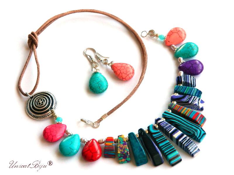 colier magnezit multicolor, bijuterii semipretioase unicat, turcoaz sinteza, perle, sidef natural, salba argintata, unicatbiju