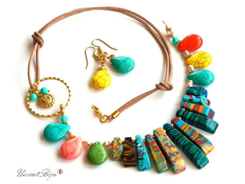 colier magnezit multicolor, turcoaz sinteza, soare aurit, perle mallorca, perle mov, sidef natural, bijuterii semipretioase unicat, cercei turcoaz, unicatbiju