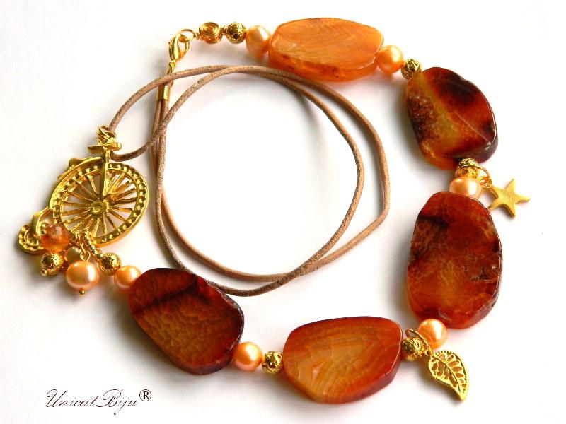 colier statement, agat geoda, bijuterii semipretioase unicat, perle piersica, sidef natural, lava aurit, frunza aurita, unicatbiju