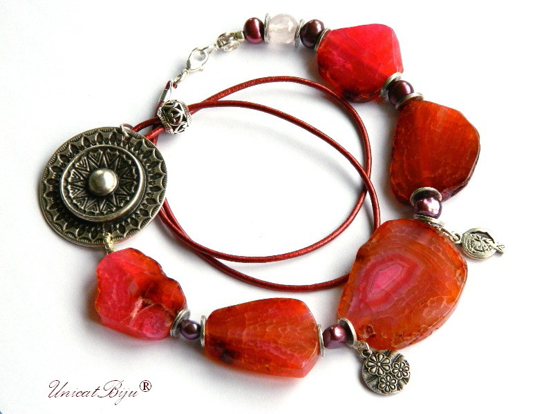 colier statement, agat orange, rodie argintata, salba, bijuterii semipretioase unicat, perle visinii, sidef natural, unicatbiju