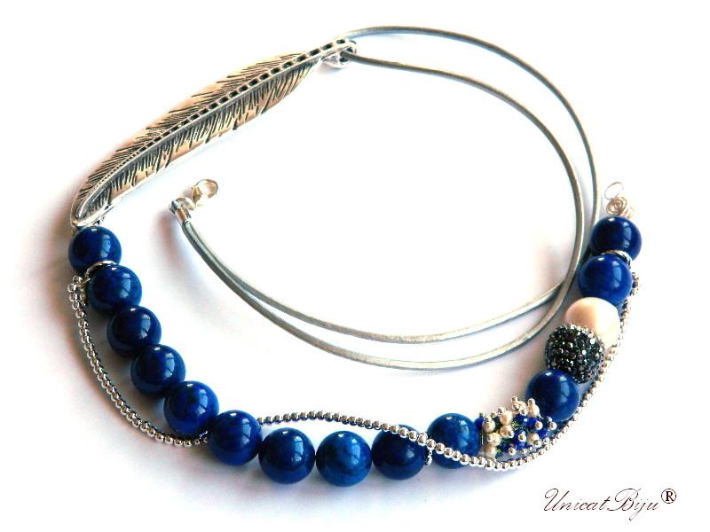 colier statement, bijuterii semipretioase unicat, lapis lazuli, perle keshi, cristale, frunza argintata, perle swarovski, unicatbiju
