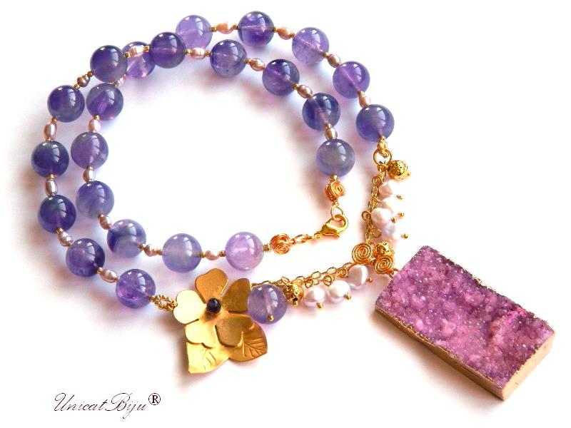 colier statement, floare aurita, ametist, bijuterii semipretioase unicat, perle mov, lava aurit, pandantiv agat druzy, unicatbiju