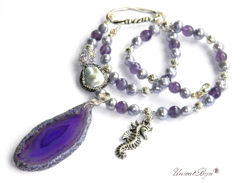 colier statement, perle lavanda, sidef natural, ametist fatetat, bijuterii semipretioase unicat, felie agat geoda, calut de mare argintat, unicatbiju