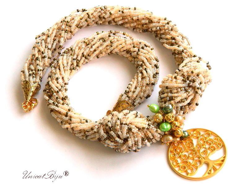 colier statement, perle multicolore, sidef natural, bijuterii semipretioase unicat, copacul vietii aurit, verde, unicatbiju