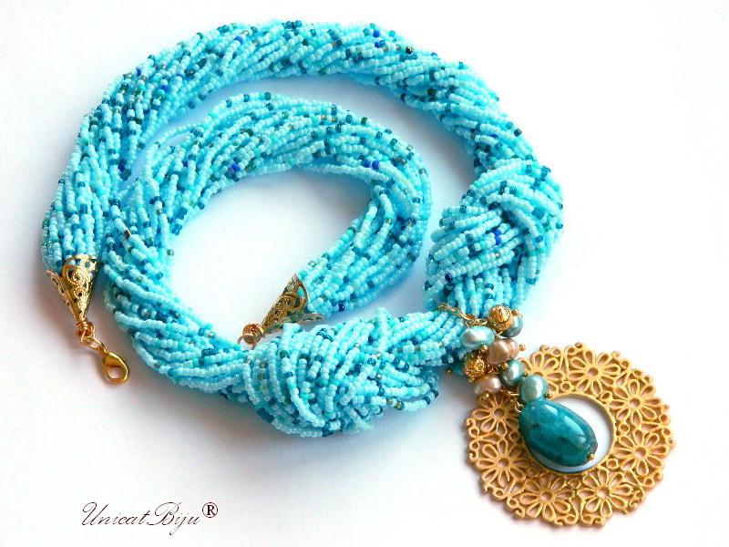 colier statement, perle multicolore, sidef natural, bijuterii semipretioase unicat, filigran aurit,bleu, unicatbiju