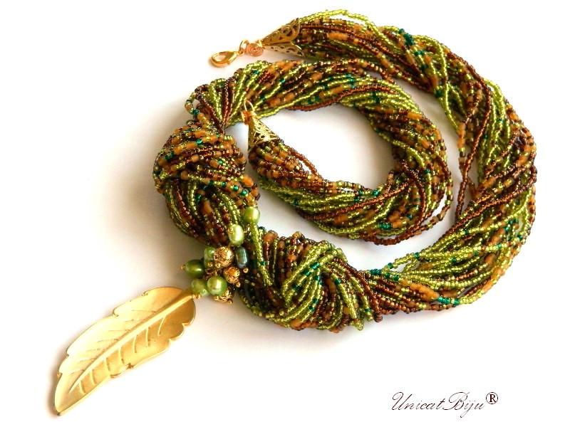 colier statement, perle multicolore, sidef natural, bijuterii semipretioase unicat, frunza aurita, verde, ambra, unicatbiju