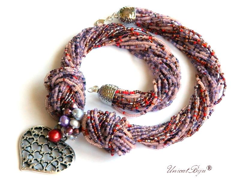 colier statement, perle multicolore, sidef natural, bijuterii semipretioase unicat, inima argintata, mov, bordeaux, unicatbiju