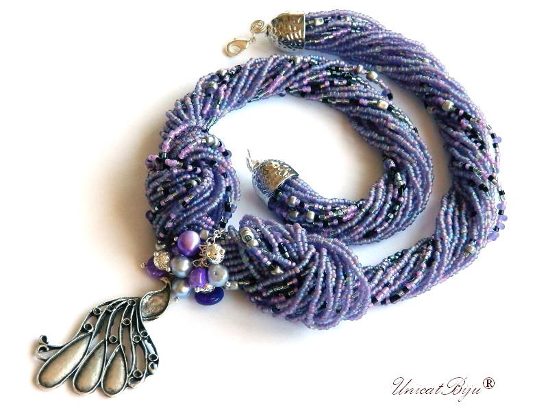 colier statement, perle multicolore, sidef natural, bijuterii semipretioase unicat, paun argintat, mov, lavanda, unicatbiju