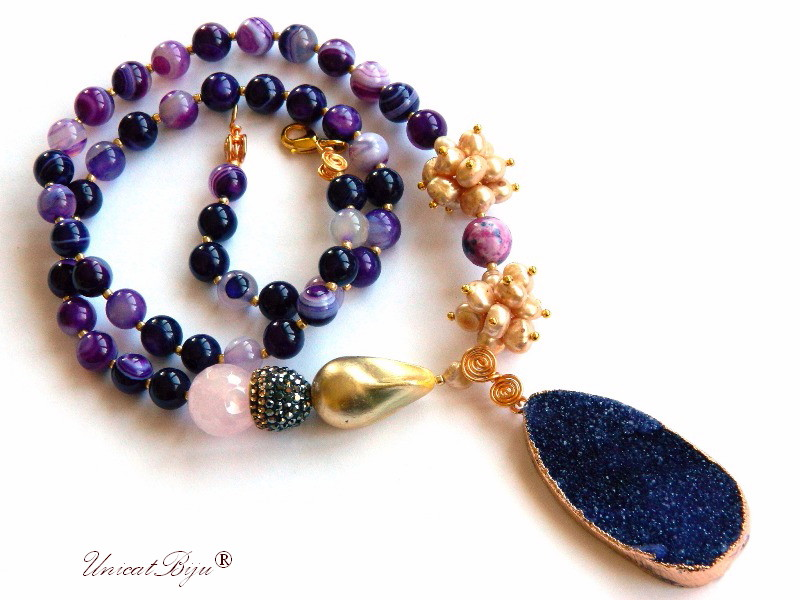 colier agat dantelat, bijuterii semipretioase unicat, perle keshi, cuart roz, sidef natural, agat druzy, regalit, unicatbiju
