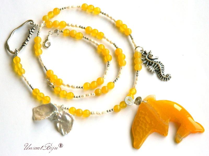 colier extra lung, agat galben, perle, sidef natural, delfin agat, bijuterii semipretioase unicat, hematit argintat, calut de mare argintat, unicatbiju